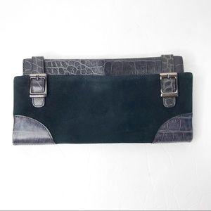 Via Spiga black leather suede clutch wallet buckle
